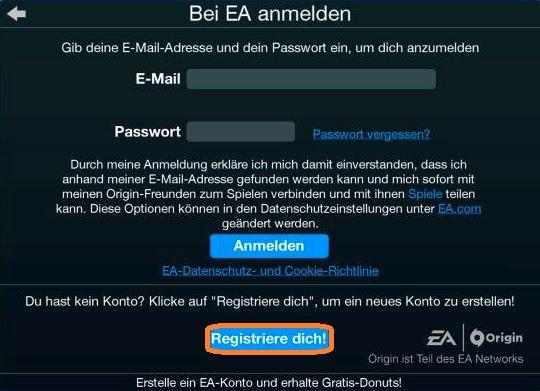 EA Account anlegen
